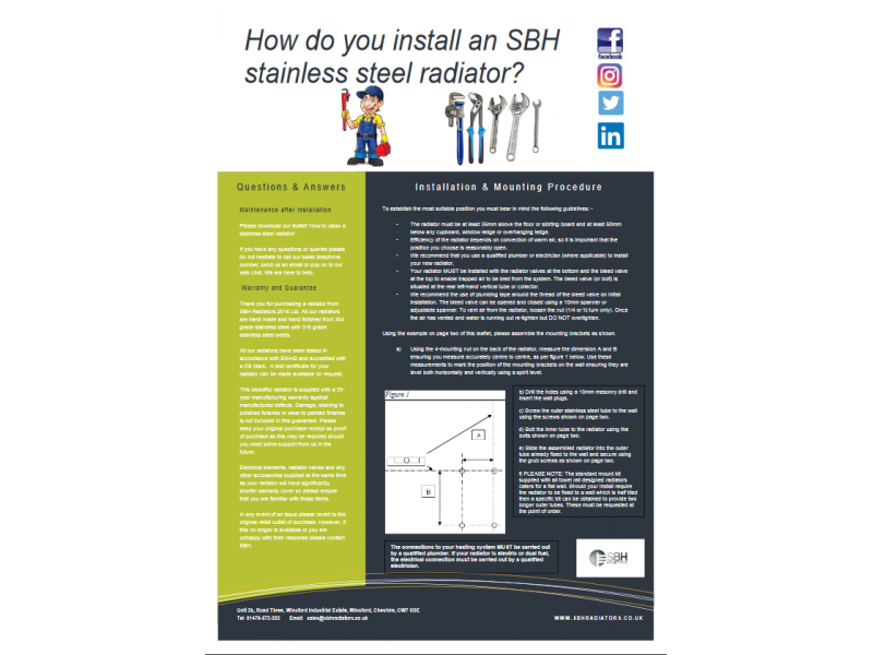 How to install an SBH stainless steel radiator